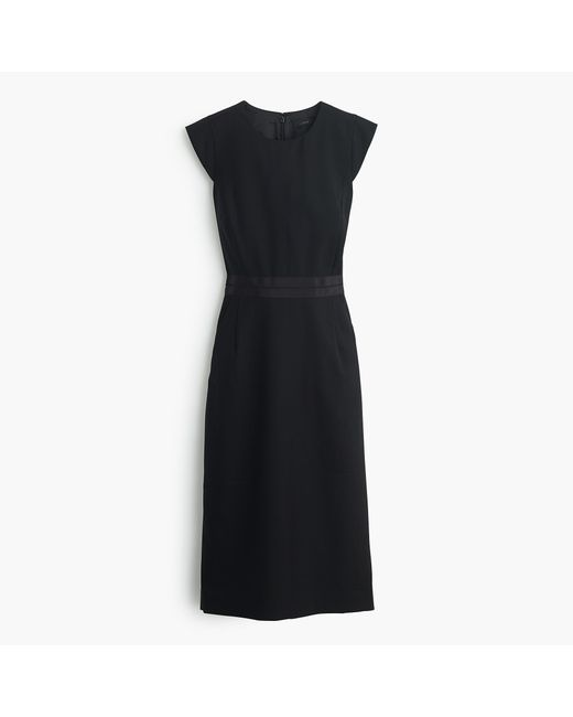 J.Crew | Black Petite Cap-sleeve Dress In Italian Wool Crepe | Lyst