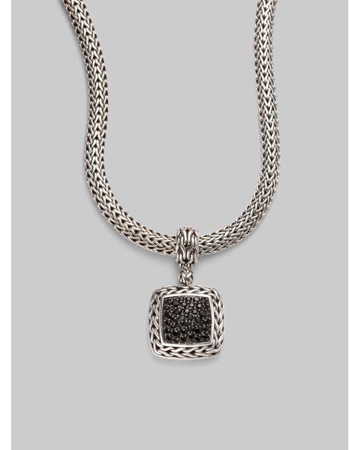 John Hardy   Classic Chain Black Sapphire & Sterling Silver Medium Square Pendant   Lyst