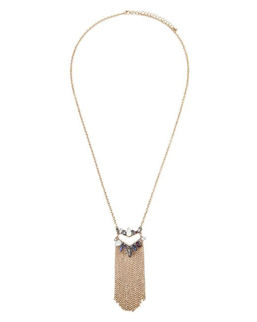 Forever 21 | Metallic Faux Gem Fringe Longline Necklace | Lyst