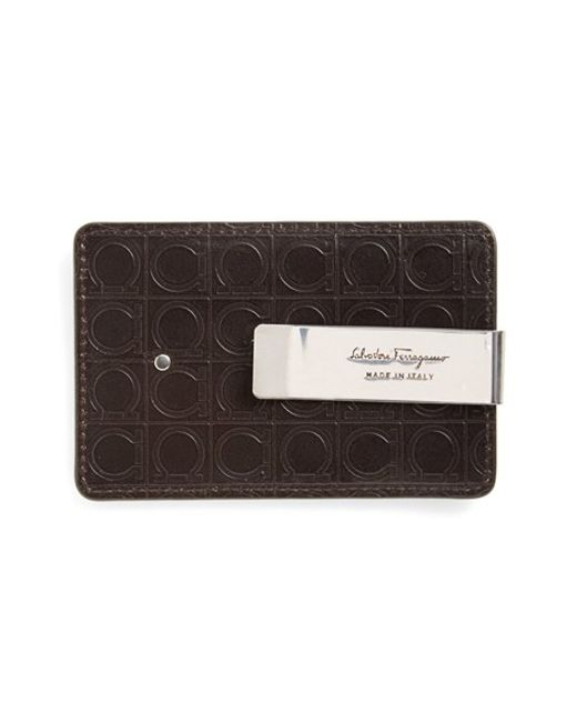 Ferragamo | Brown 'gamma Soft' Money Clip Card Case for Men | Lyst