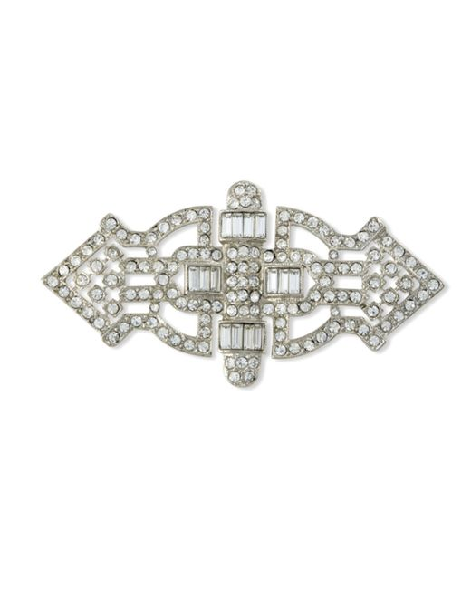 Kenneth Jay Lane | Metallic Crystal Art Deco Brooch | Lyst