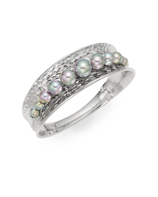 Majorica | Metallic 7mm-10mm Grey Round Pearl Bangle Bracelet | Lyst