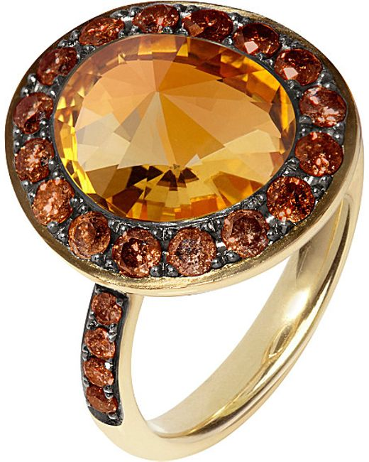 Annoushka | Orange Dusty Diamonds 18ct Yellow-gold, Diamond And Citrine Ring | Lyst
