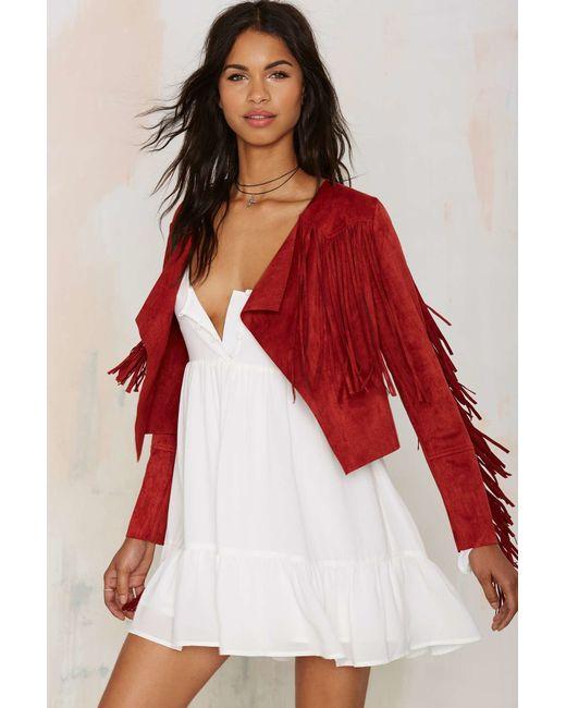 Glamorous | Red Blaze Of Glory Fringe Crop Jacket | Lyst