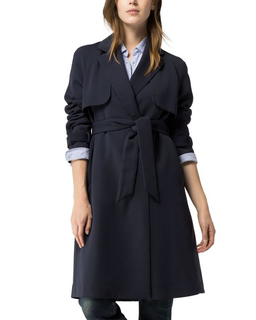 tommy hilfiger georgia trench coat in blue navy lyst. Black Bedroom Furniture Sets. Home Design Ideas