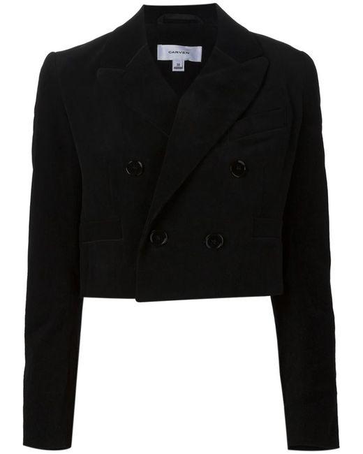 Carven | Black Corduroy Cropped Jacket | Lyst