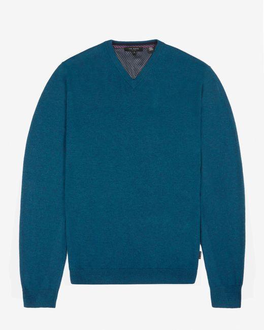 Ted Baker | Blue Cashmere Blend V-neck Jumper for Men | Lyst