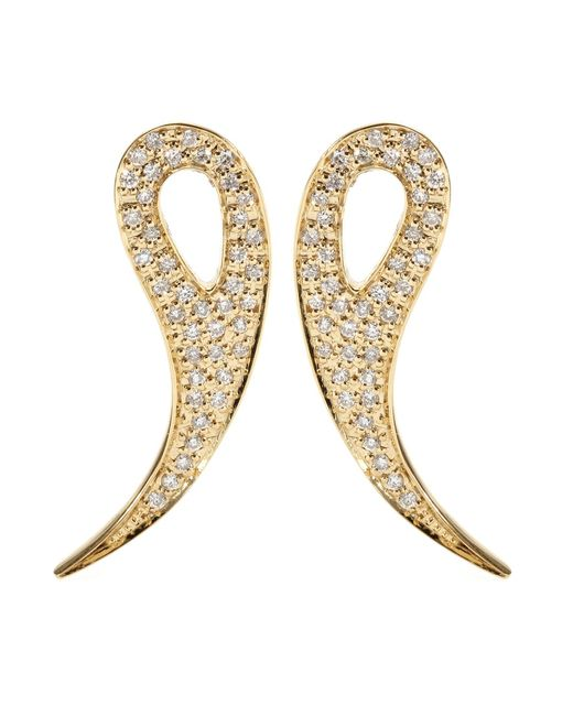 House of Waris   Metallic 18kt Gold Drop Spike Earrings With White Pavé Diamonds   Lyst
