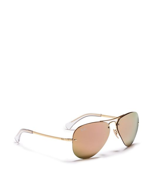 Ray Ban Rb3449 Aviator Mirror Sunglasses In Pink For Men