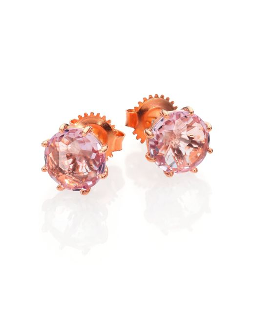 KALAN by Suzanne Kalan | Pink Rose De France & 14k Rose Gold Round Stud Earrings | Lyst