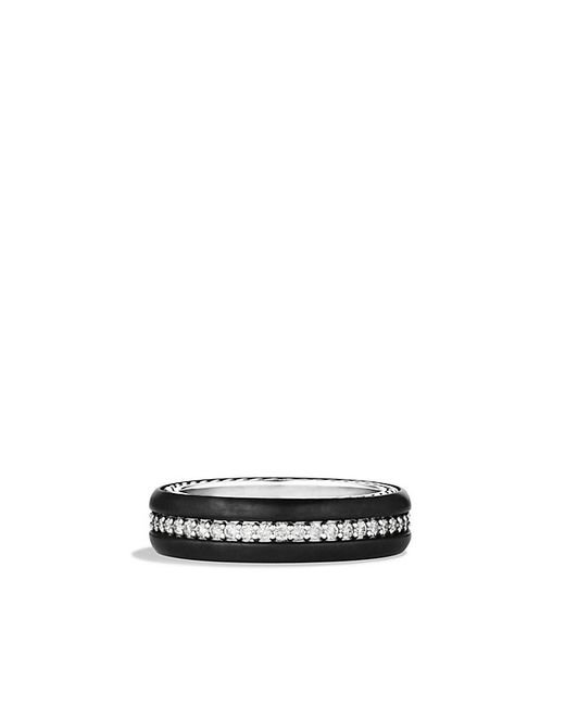 David Yurman | Streamline Narrow Band Ring With Diamonds And Black Titanium, 6mm for Men | Lyst