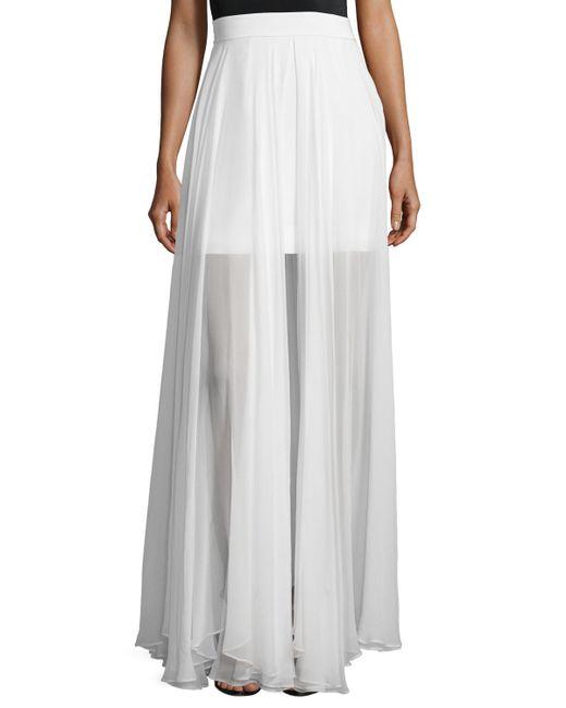 milly flowy silk maxi skirt w front slit in white lyst