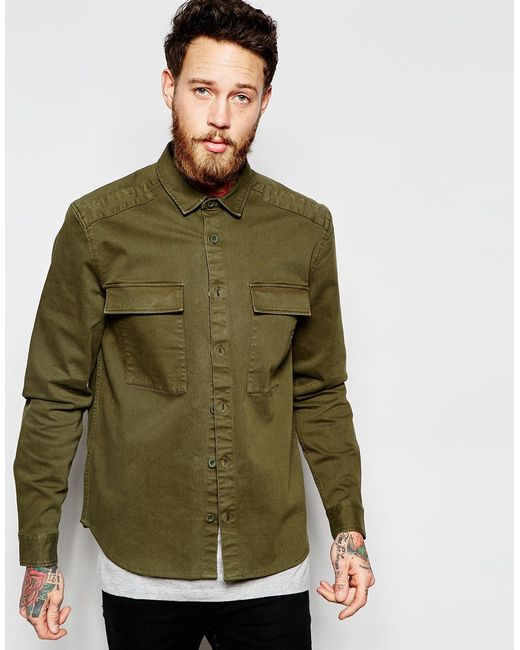 Asos military overshirt in khaki with long sleeves in for Mens khaki shirt outfit