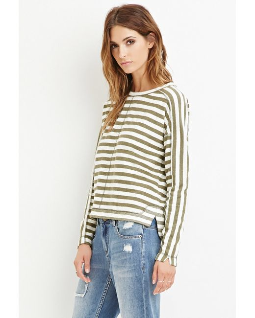 Forever 21   Green Contemporary Striped Reverse French Terry Top   Lyst
