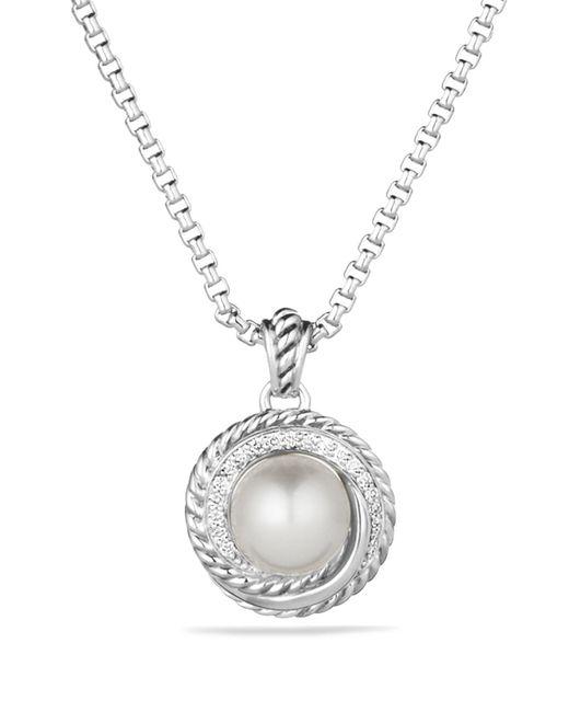 David Yurman   Metallic Pearl Crossover Pendant With Diamonds On Chain   Lyst