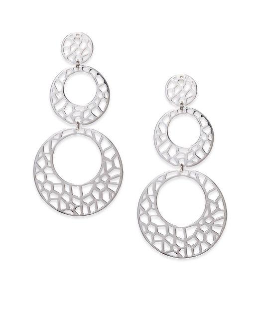 Ron Hami | Metallic Lace Sterling Silver Cutout Triple Drop Earrings | Lyst