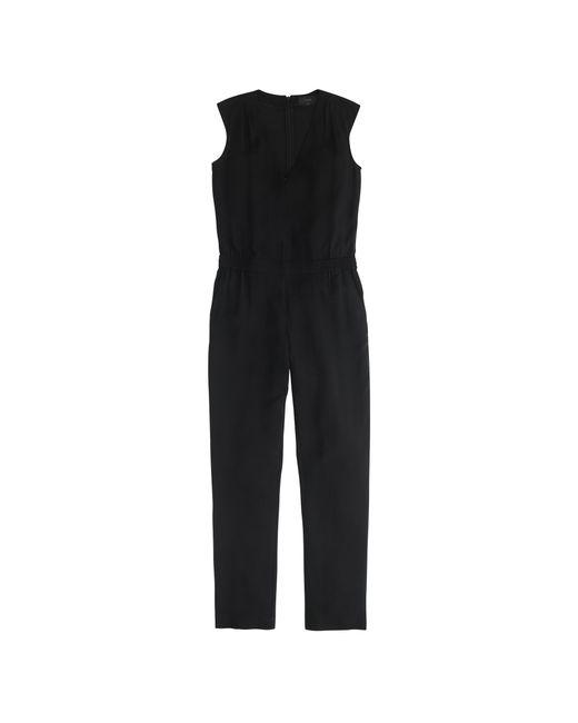 J.Crew | Black Drapey Oxford Crepe V-neck Jumpsuit | Lyst