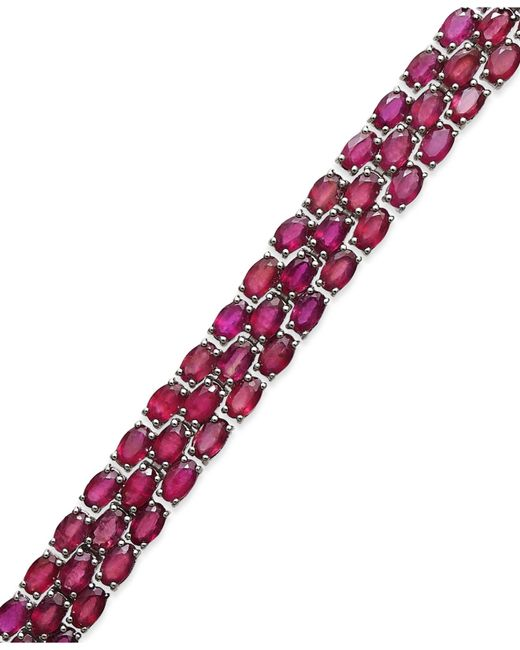 Macy's | Red Ruby Three-row Bracelet In Sterling Silver (25 Ct. T.w.) | Lyst