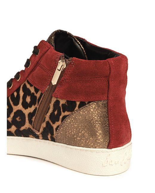 Sam Edelman | Red 'britt' Leopard Calf Hair Leather Combo Sneakers | Lyst
