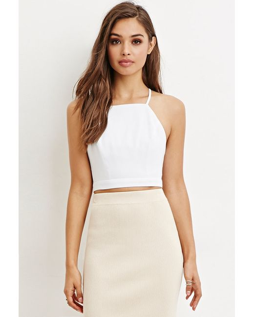 Forever 21 | White Crisscross-back Cropped Cami You've Been Added To The Waitlist | Lyst