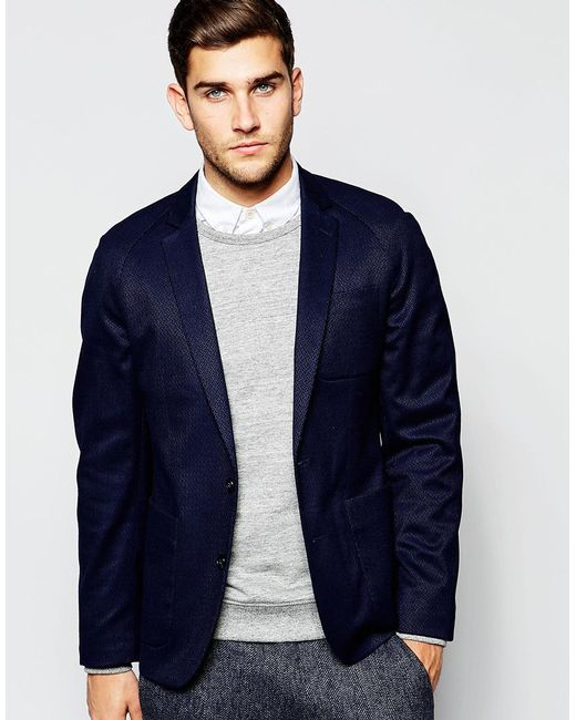 ASOS | Blue Slim Jacket In Navy - Navy for Men | Lyst