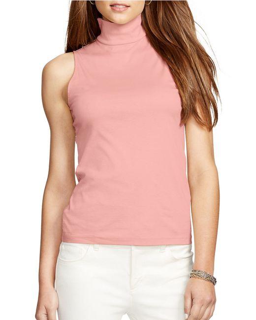 Lauren By Ralph Lauren Sleeveless Cotton Mockneck Top In