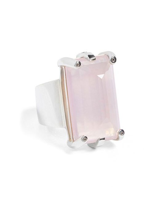 Anna Sheffield | Metallic 'eshel' Rose Quartz & Champagne Diamond Ring | Lyst