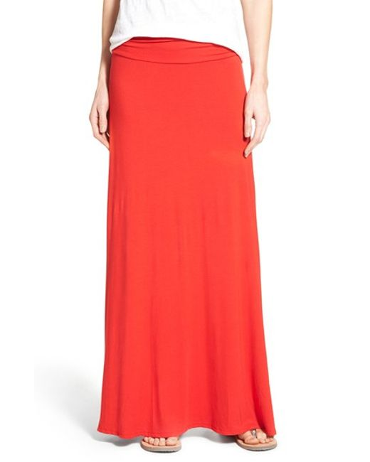 bobeau ruched waist side slit maxi skirt in piper