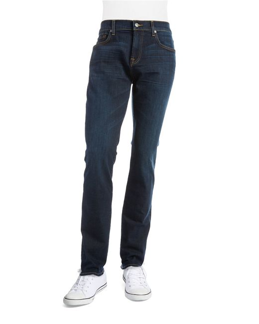 7 for all mankind tapered straight leg jeans in blue for men save 35 lyst. Black Bedroom Furniture Sets. Home Design Ideas