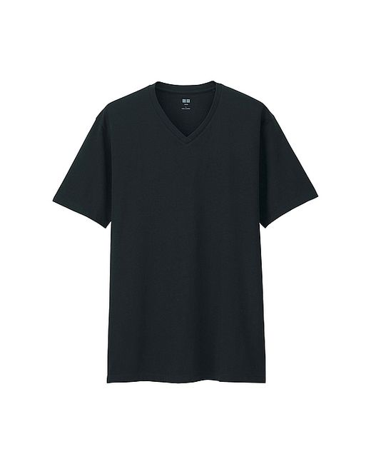 Uniqlo black supima cotton v neck short sleeve t shirt product 0 472716185 normal