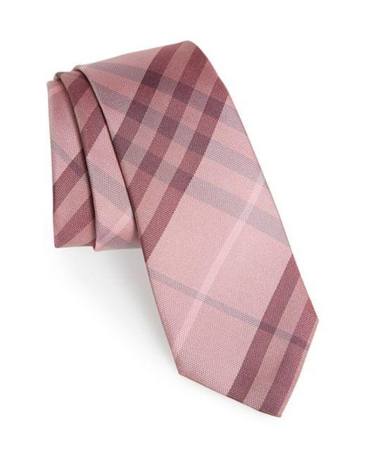 Burberry   Pink 'manston' Check Silk Tie for Men   Lyst