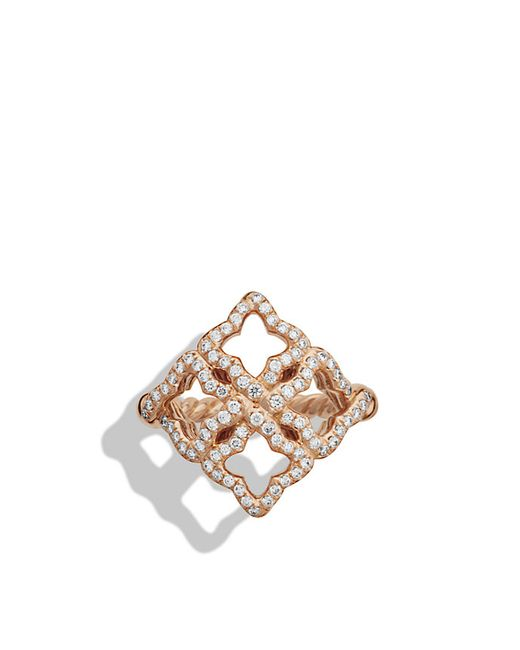 David Yurman | Pink Venetian Quatrefoil Ring With Diamonds In Rose Gold | Lyst