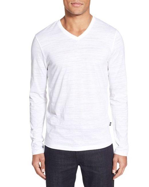 Boss 39 tyson 39 v neck long sleeve t shirt in white for men for Long white v neck t shirt
