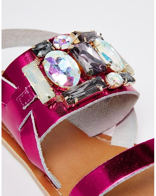 asos flash wide fit embellished flat sandals in purple lyst