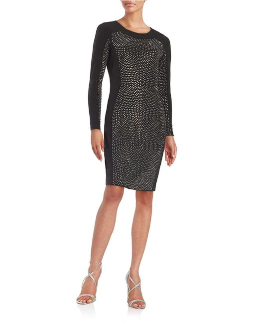Calvin Klein | Metallic Embellished Sheath Dress | Lyst