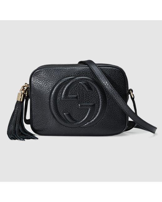 gucci soho disco leather shoulder bag in black black