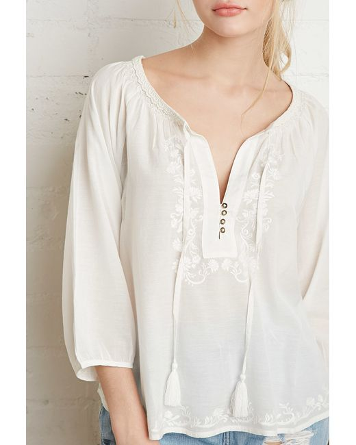 Forever 21 | Natural Embroidered Peasant Blouse | Lyst