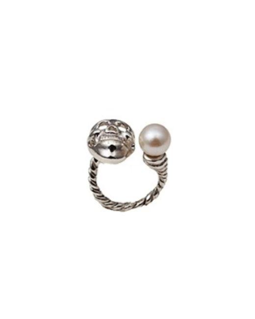 Bernard Delettrez | Metallic Skull And Pearl Silver Ring | Lyst