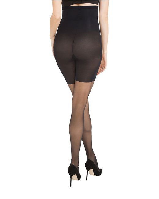 spanx in power line high waist super shaping sheer pantyhose in black very black lyst. Black Bedroom Furniture Sets. Home Design Ideas