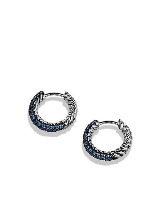David Yurman | Petite Pavé Huggie Hoop Earrings With Blue Sapphires | Lyst