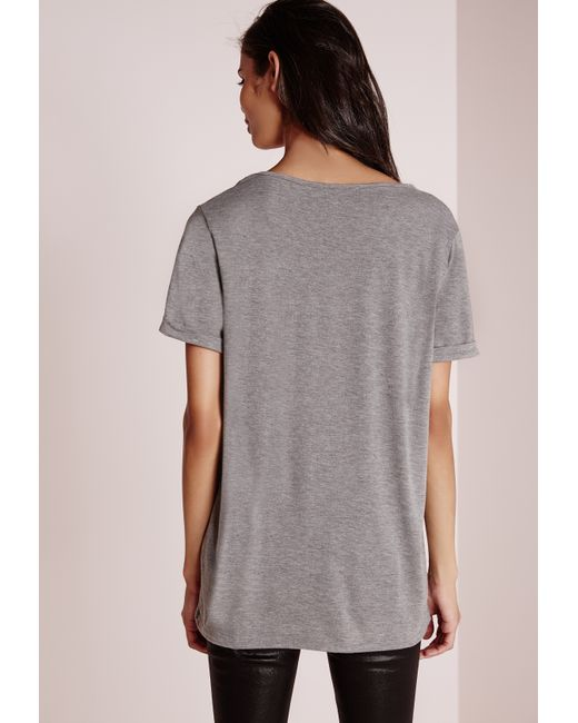 Missguided tall boyfriend v neck t shirt grey marl in gray for Womens tall v neck t shirts