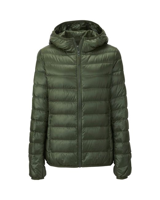 uniqlo women ultra light down hooded jacket in green olive save 25. Black Bedroom Furniture Sets. Home Design Ideas