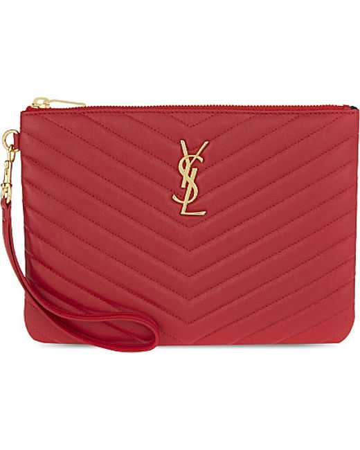 Saint Laurent | Red Monogram Quilted Leather Pouch | Lyst