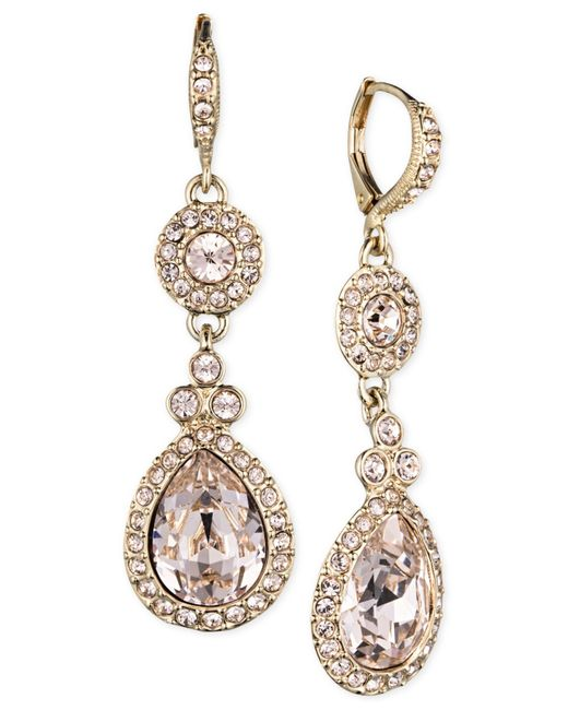 Givenchy | Metallic Gold-tone Crystal And Pavé Double Drop Earrings | Lyst