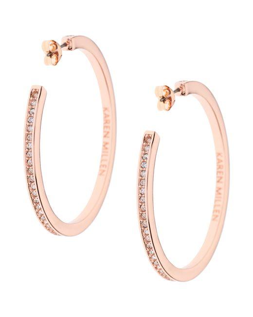 Karen Millen | Pink Large Crystal Hoop Earrings | Lyst