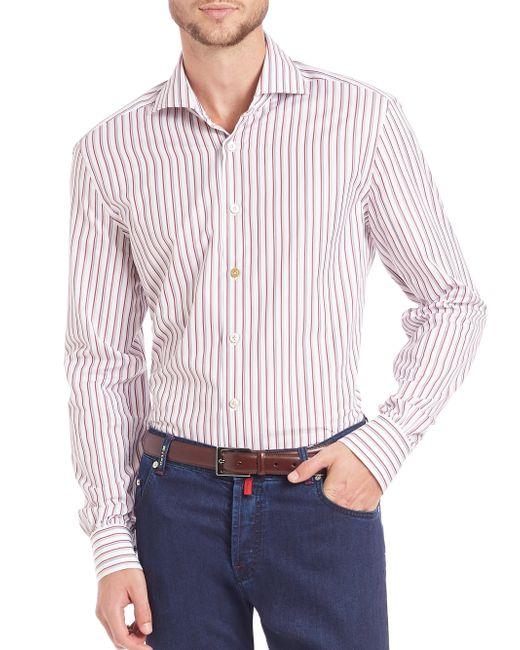 Kiton | Red Shadow Stripe Cotton Sportshirt for Men | Lyst