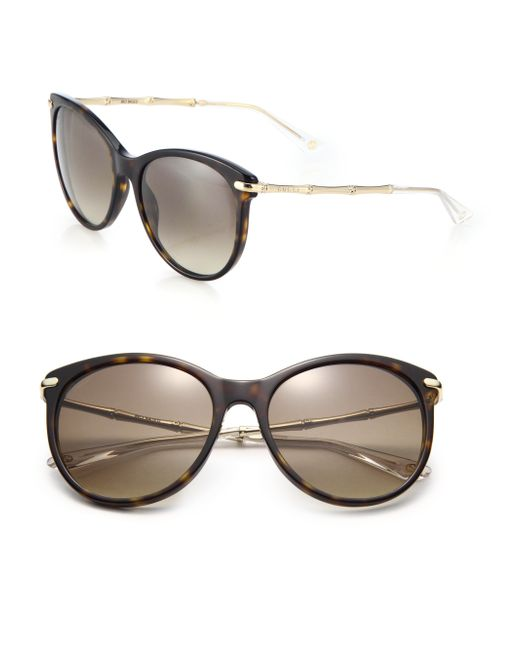 Gucci | Brown Bamboo 56mm Oval Frame | Lyst