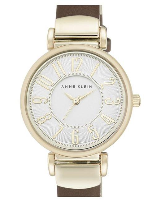 Anne klein leather strap watch in gold brown gold lyst for Anne klein leather strap