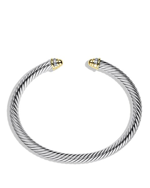 David Yurman | Metallic Cable Classics Bracelet With Gold Domes & Diamonds | Lyst