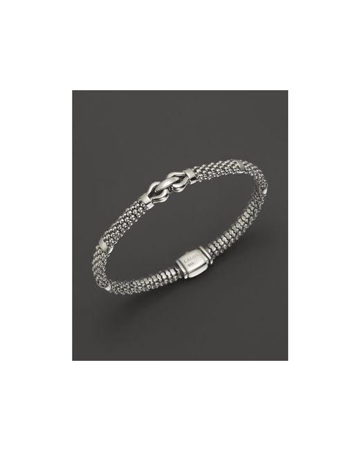 Lagos | Metallic Derby Small Buckle Sterling Silver Caviar Bracelet | Lyst